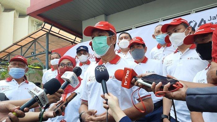 Ketua PMI DKI Jakarta Rustam Effendi di acara pembukaan peringatan hari donor darah sedunia, Minggu (6/6/2021)
