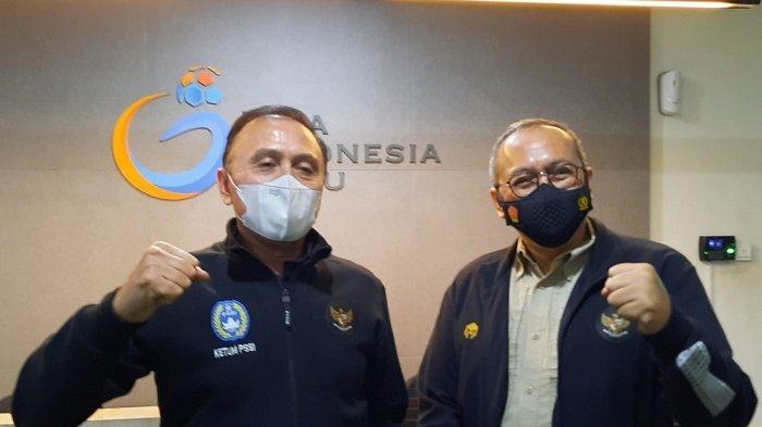 Ketua Umum PSSI Mochamad Iriawan dan Dirut PT LIB Akhmad Hadian Lukita saat ditemui di Kantor PT LIB, Sudirman, Jakarta, Kamis (4/1/2021).     Terima Kasih