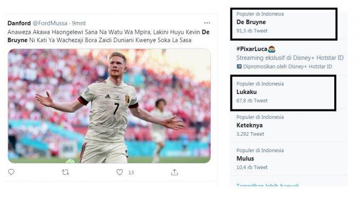 De Bruyne dan Lukaku trending topic setelah Belgia kalahkan Denmark dan lolos babak 16 besar Euro 2020. De Bruyne sebagai penentu kemenangan, Lukaku karena tampil menawan