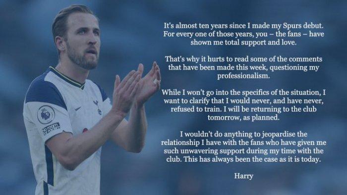 Penuhi Janji, Harry Kane Kembali ke Tottenham Namun Absen Melawan Manchester City di Laga Perdana