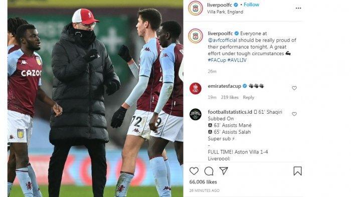 Hasil Piala FA: Juergen Klopp Salami Para Pemain Muda Villa Meski Timnya Menang Telak 4-1
