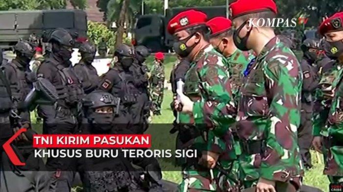 Panglima TNI Marsekal Hadi Tjahyanto saat melakukan inspeksi ke markas Kopassus. Marsekal Hadi memastikan akan mengirim Kopassus ke Sigi untuk membantu memburu teroris MIT pimpinan Ali Kalora yang telah membunuh satu keluarga di wilayah itu.
