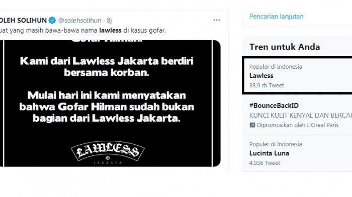 Lawless Trending karena Berdiri Bersama Korban Pelecehan, Pemecatan Gofar Hilman Bukan Gimmick?