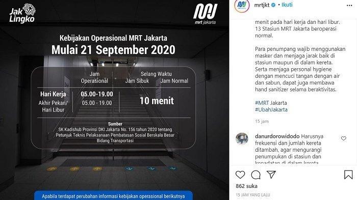 LAYANAN Operasional MRT Berubah Mulai Senin (21/9) Ini, Catat Jam Operasional dan Waktu Antarkereta