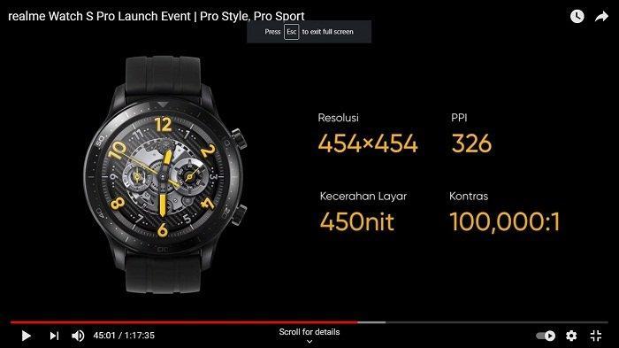 Layar Realme Watch S Pro