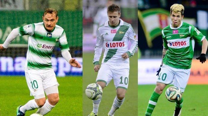 Tiga eks pemain Lechia Gdansk yang pernah memakai no 10, (dari kiri ke kanan) Sebastian Mila, Przemys?aw Frankowski, dan Bruno Nazario.