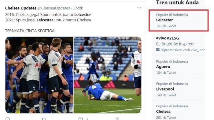 Leicester puncaki trending topic karena kekalahannya melawan Tottenham 2-4.