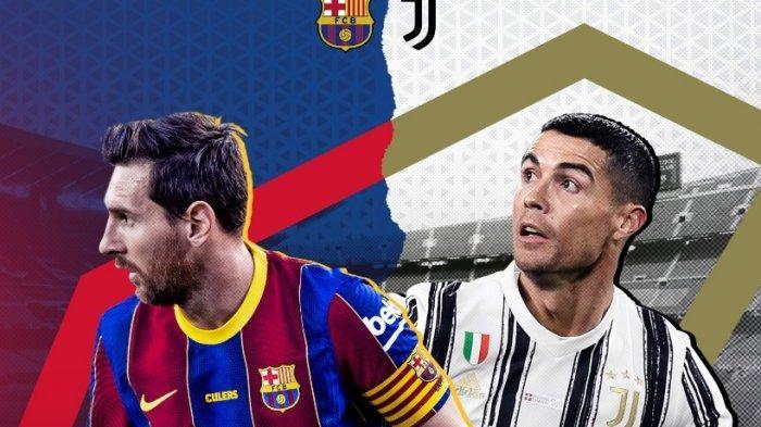 Ilustrasi Duel Barcelona vs Juventus duel mega bintang, Lionel Messi vs Cristiano Ronaldo