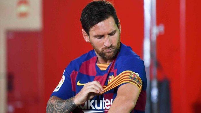 Lionel Messi Kapten tim FC Barcelona yang dikabarkan akan hengkang ke Manchester City