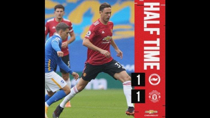 Live Streaming Liga Inggris Brighton & Hove Albion Vs Manchester United, Babak Pertama Imbang 1-1