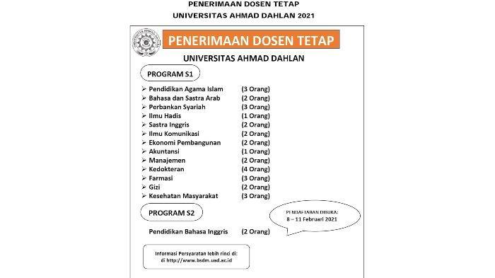 Lowongan kerja di Universitas Ahmad Dahlan, Jalan Ir H Juanda Cireundeu, Ciputat Timur, Kota Tangerang Selatan, Banten.