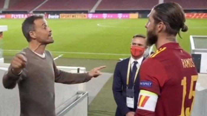 Ilustrasi Pelatih Timnas Spanyol Luis Enrique dengan sang Kapten Sergio Ramos. Ramos kini tak dipanggil dan hanya membawa 24 pemain dari jatah 26 pemain