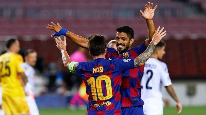 Luis Suarez dan Lionel Messi saat merayakan gol di Laliga