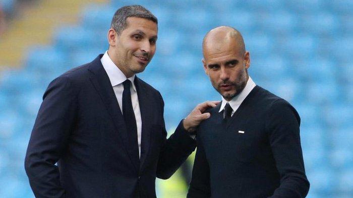 Chairman Manchester City, Khaldoon Al Mubarak (kiri) bersama Manajer Pelatih Pep Guardiola