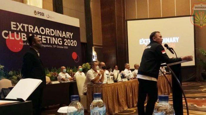 Ketum PSSI, Mochamad Iriawan saat acara pertemuan dengan PT LIB dan Manajer Tim klub Liga 1 di Jogjakarta