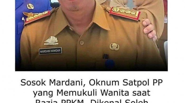 Oknum Satpol PP pemukul wanita hamil di Gowa bernama Mardani Hamdan panggilannya Soleh.