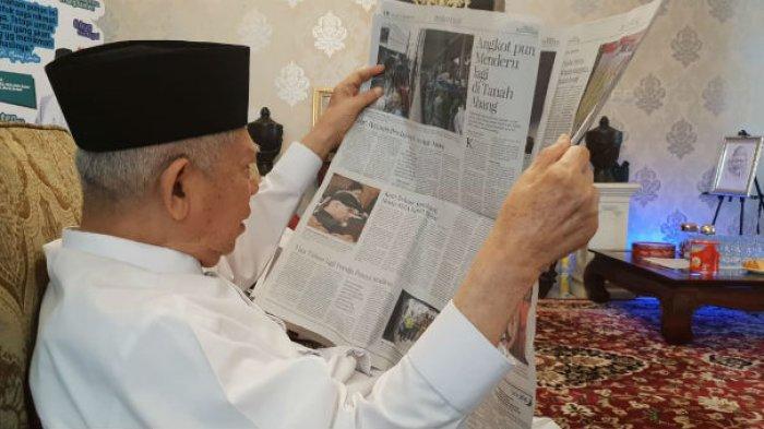 Rutin Baca Koran Setiap Pagi, Maruf Amin Tak Pakai Kacamata