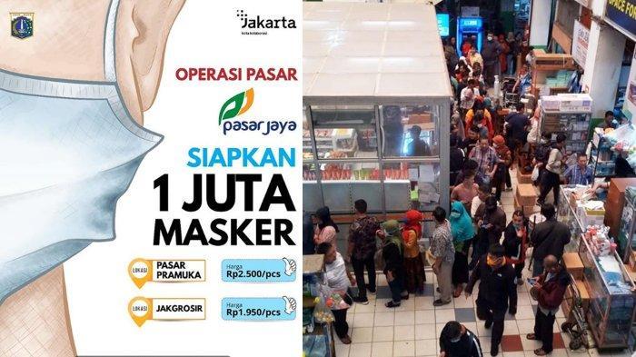 Pemprov DKI Gelar Operasi Pasar 1 Juta Masker, Antrean Mengular di Pasar Pramuka Mengular Pagi Ini