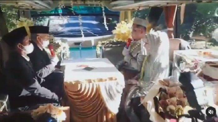 VIRAL, Gara-gara PPKM Darurat Warga Boyolali Menikah di Dalam Bus, Ijab Kabul Keliling Tol