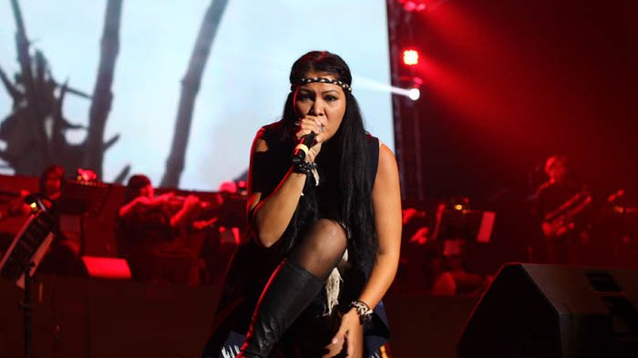 Melanie Subono tampil di konser 'Musika Foresta', Balai Sarbini, Semanggi, Jakarta Selatan, Sabtu (13/5/2017).