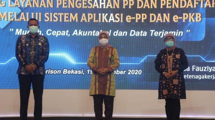 Menaker Ida Fauziyah Resmikan Peluncuran Layanan online e-PP dan e-PKB