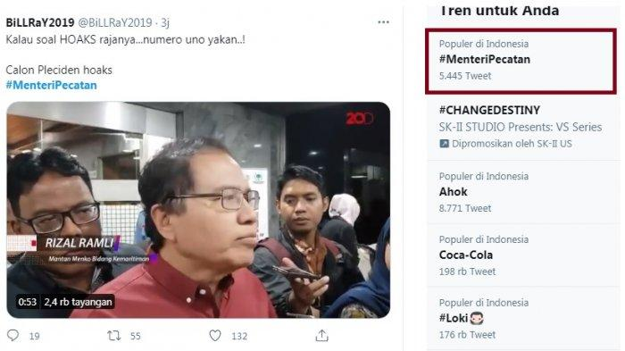 Trending Topic Menteri Pecatan yang tak Lain Rizal Ramli, Masih Ada yang Mau Memilih Jadi Capres?