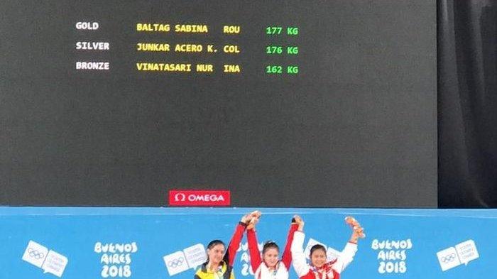 Lifter Remaja Putri Nur Vinatasri Meraih Perunggu Olympic Youth Games