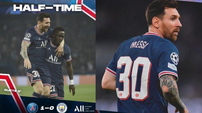 Yes, Messi Akhirnya Cetak Gol Pertama untuk PSG, Skor Sementara PSG vs Manchester City 2-0