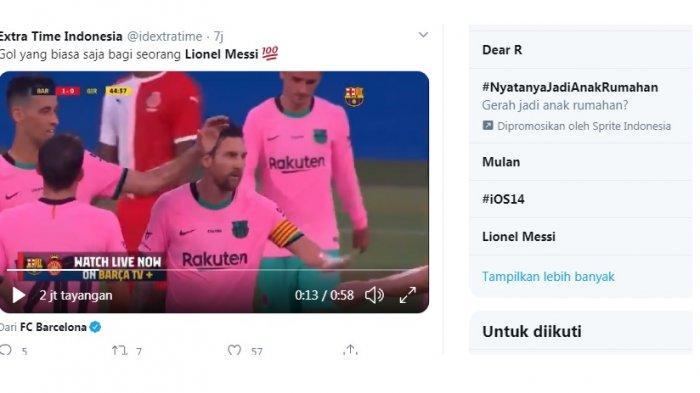 Lionel Messi trending karena mencetak dua gol indah dalam laga persahabatan melawan Girona. Laga berakhir dengan skor 3-1 untuk Barcelona, satu gol lainnya dicetak Philippe Coutinho