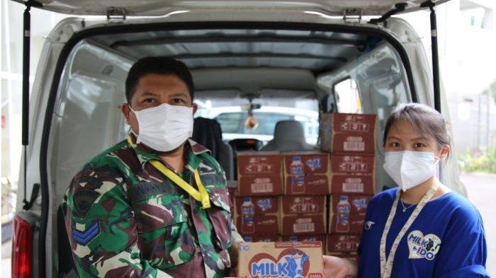 Peluncuran Susu Milk-Ido disertai program donasi paket susu ke RS Darurat Penanganan Covid-19 Wisma Atlet, Kemayoran, Jakarta Pusat, serta sejumlah panti asuhan dan komunitas anak, Kamis (8/7/2021).