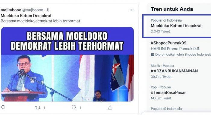 Partai Demokrat Rayakan Ultah ke-20 Besok, Namun yang Trending Moeldoko Ketum Demokrat Bukan AHY