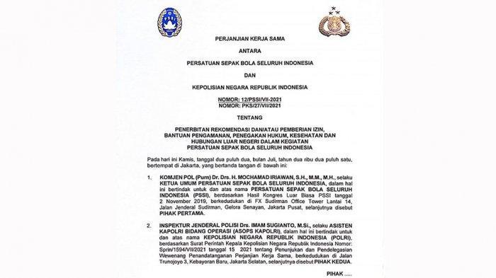 Draft MOU PSSI dan Mabes Polri tentang Penerbitan rekomendasi dan/atau pemberian izin bantuan pengamanan, penegakan hukum, kesehatan, dan hubungan luar negeri dalam kegiataan PSSI.