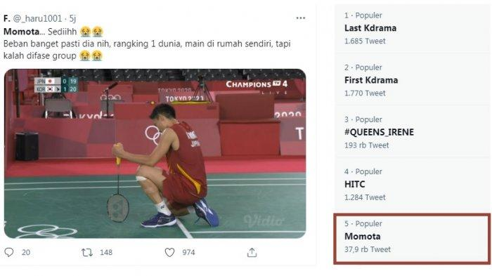 Momota Trending Usai Tersingkir dari Penyisihan Grup Olimpiade Tokyo, Netizen Indonesia Menangis