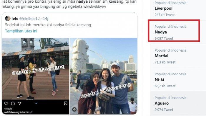 Nadya trending topic. Wanita yang menjadi kekasih baru putra  bungsu Presiden Jokowi, Kaesang Pangarep itu diduga sudah kenal dengan Felicia Tissu, wanita yang dipacarai Kaesang selama 5 tahun.