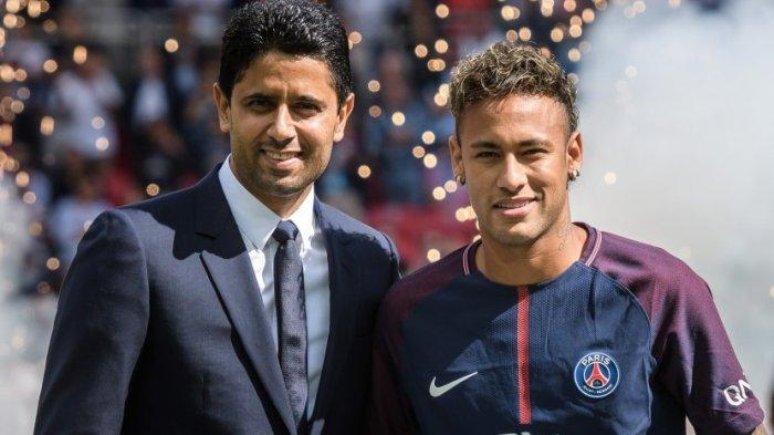 Nasser Al Khelaifi bersama pemain bintang PSG asal Brasil Neymar Jr