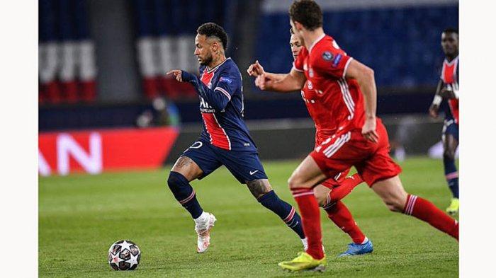 Aksi Neymar di laga perempat final Liga Champions leg 2 lawan Bayern Munich yang berakhir 0-1 untuk Bayern, tapi PSG yang lolos ke semifinal karena agregat gol