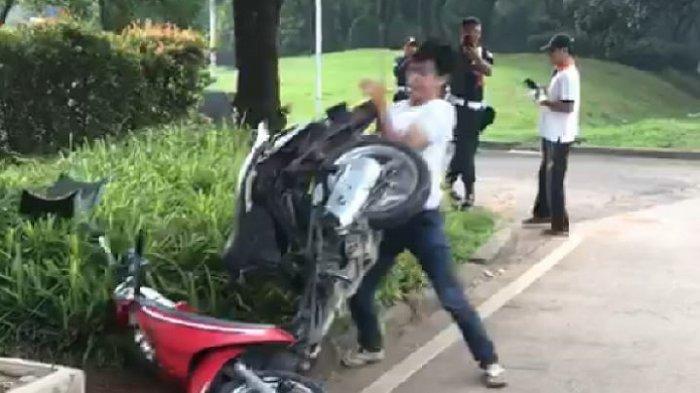 Pemuda Serpong Tangsel Sempat Beralasan Tidak Pakai Helm karena Dekat Sebelum Ngamuk Rusak Motor