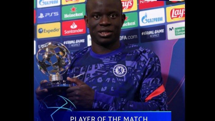 Meski tak mencetak gol, gelandang Chelsea N'Golo Kante menjadi pemain terbaik atau man of the match laga Real Madrid vs Chelsea di leg pertama semifinal Liga Champions.