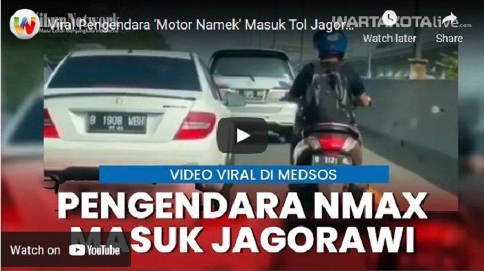 Seorang pengendara sepeda motor jenis Yamaha NMax, atau yang biasa disebut netizen sebagai Namek terekam kamera masuk Jalan Tol Jagorawi KM 9 arah Bogor.