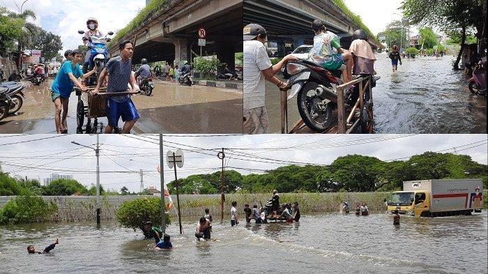 Ojek Gerobak Banjir di Kembangan Jakbar Kebanjiran Rezeki di Masa Pandemi Covid-19, Segini Tarifnya