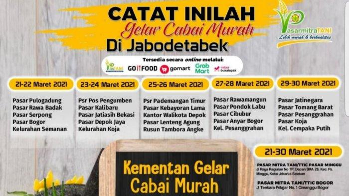 Tekan Harga Cabai, Kementerian Pertanian Gelar Operasi Pasar di Jakarta Barat