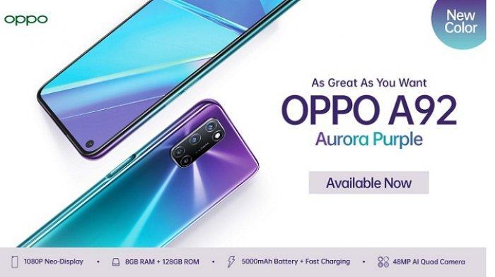 Oppo A92 Aurora Purple Terinspirasi Fenomena Alam Kutub Utara, Harga Rp 3,99 Juta Ini Spesifikasinya