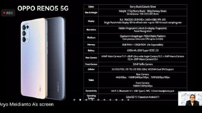 Oppo Reno5 5G. PR Manager Oppo Indonesia Aryo Meidianto menjelaskan spesifikasi OPPO Reno5 5G saat konferensi pers virtual OPPO Reno5 5G.