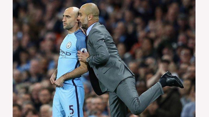 Pep Guardiola pernah juga bekerja sama dengan Pablo Zabaleta di Manchester City