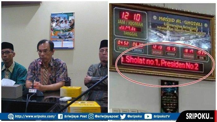 Penunjuk Waktu di Masjid Universitas Sriwijaya Diretas, Muncul Tulisan Salat No 1 Presiden No 2