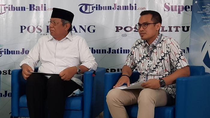 Paslon Wali Kota dan Wakil Wali Kota Tangsel, Benyamin Davnie - Pilar Saga Ichsan saat menghadiri acara diskusi di Kantor Redaksi Harian Warta Kota.