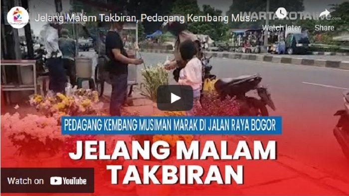VIDEO Jelang Malam Takbiran, Pedagang Kembang Musiman Marak di Jalan Raya Bogor