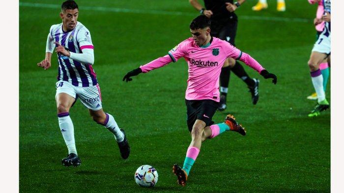 Pedri memberikan assis buat Clement Lenglet dan Lionel Messi saat cetak gol ke gawang Real Valladolid