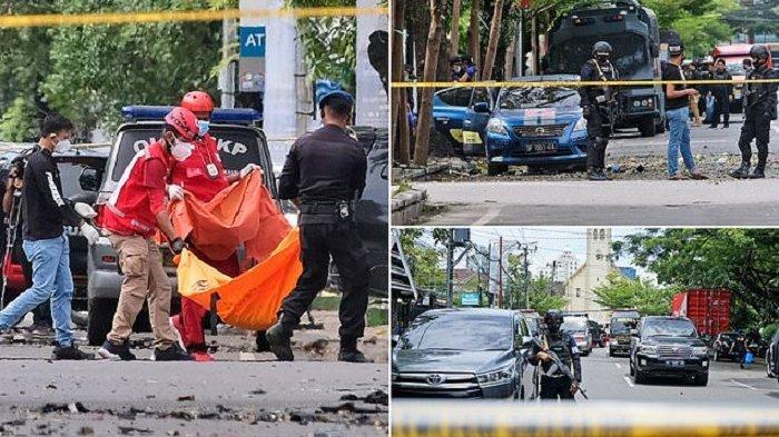 Bom di sekitar Gereja Katedral Makassar, Sulawesi Selatan, menewaskan dua orang yang diduga pelaku bom bunuh diri, Minggu (29/3/2021). Sebanyak 20 orang korban mengalami luka-luka dan telah mendapat perawatan.