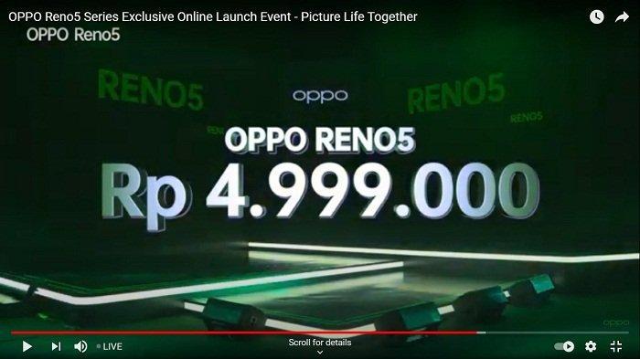 OPPO Reno5 resmi meluncur di Indonesia secara virtual, Selasa (12/1/2021) malam, dan langsung bisa di-order via flash sale.